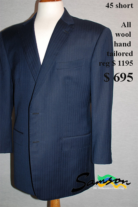 Mens hand made Suit, Blue tone stripe size 45 short