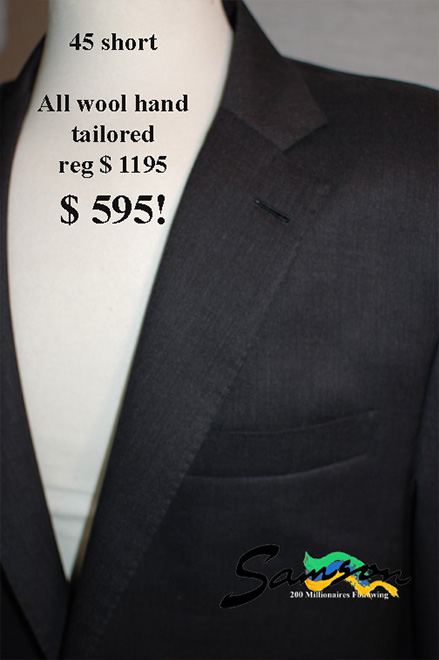 Mens Bespoke Grey Suit size 45 short, wool flannel, medium grey suit