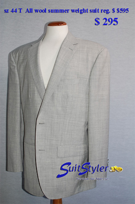 3 piece mens suit 44 tall, all wool twist, light grey