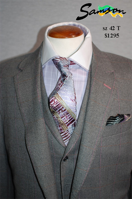 Mens 3 piece check suit, bespoke, custom , mtm