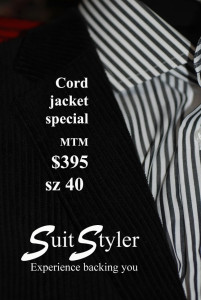 Mens Black cord jackets MTM from $395