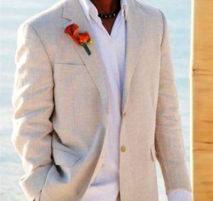 light beige, natural linen, wedding suits, for beach weddings.