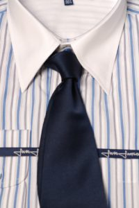 Blue pinstripe shirt with white collar and cuff
