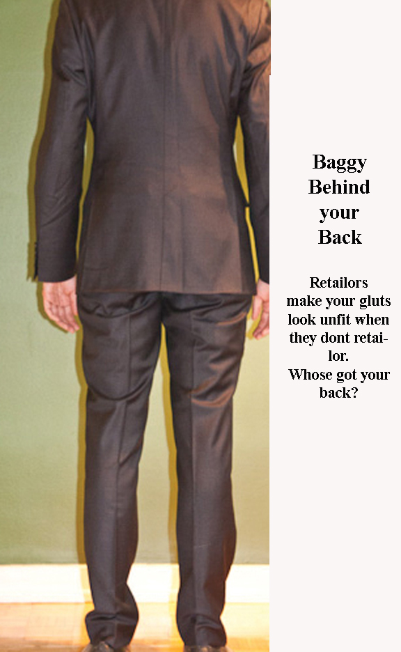 How should my suit slacks look at the back? slacks wrinkles are a sign of poor tailoring