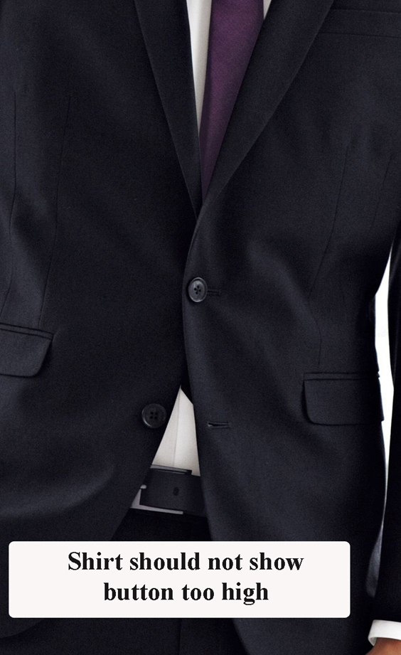 Where should a mens suit button?